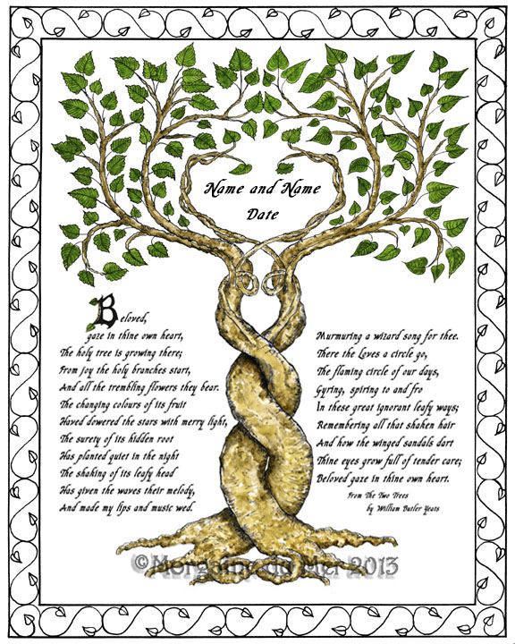 Custom wedding handfasting anniversary vows certificates by morgaine